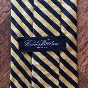Brooks Brothers Yellow Blue Striped Silk Tie